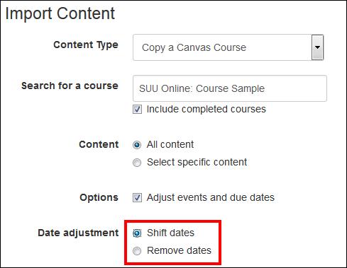 Screenshot of the date adjustment options.
