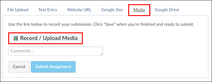 Screenshot of the Media tab and Record/Upload Media button.