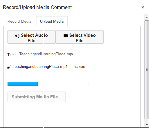 Screenshot of the Record/Upload Media Comment window.