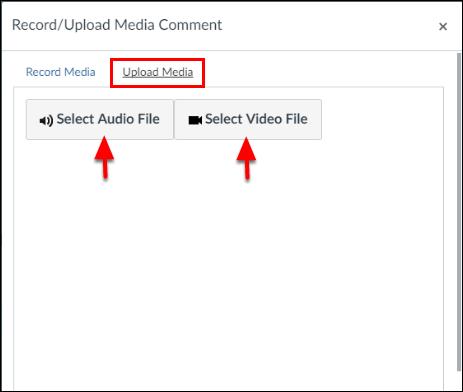 Screenshot of the Upload Media tab.