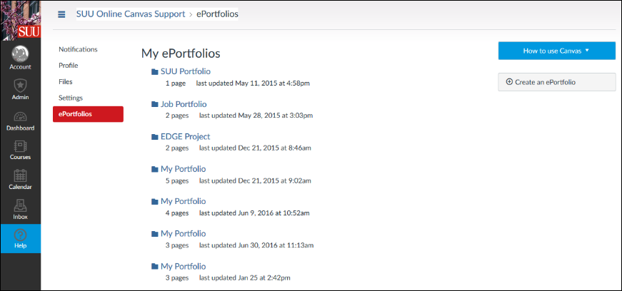 Screenshot of the ePortfolio.