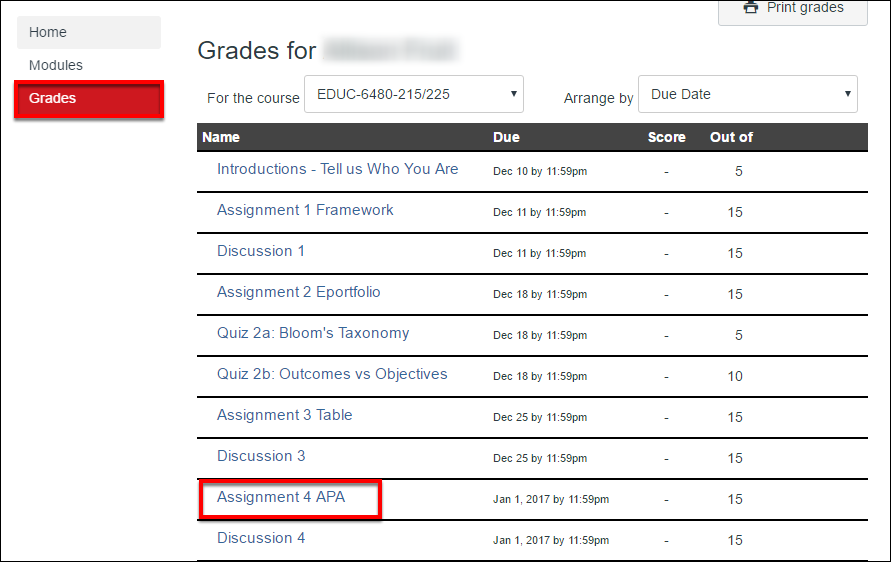 Grades tab with assignments