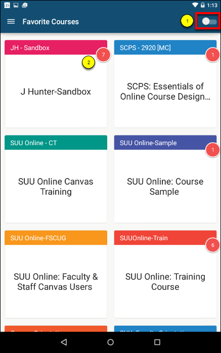 Screenshot of the favorite courses.