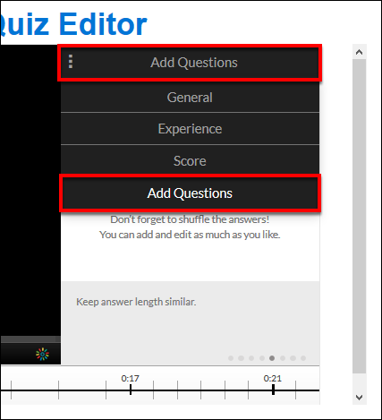 Screenshot of the Add Questions window.