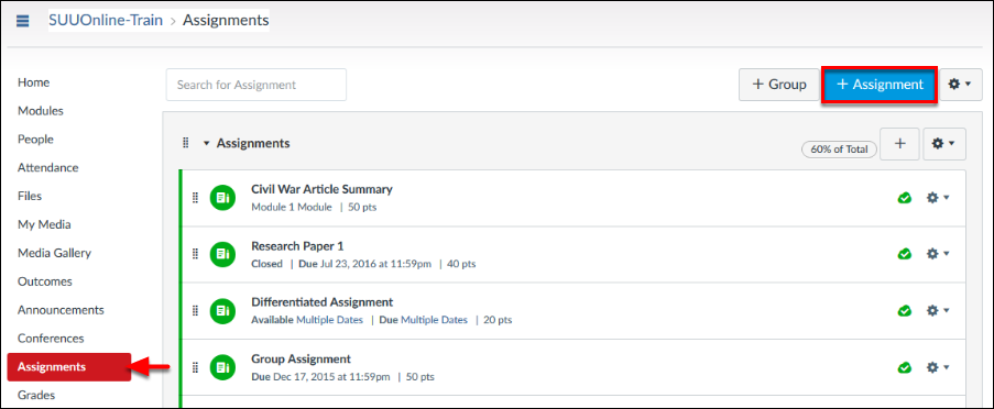 Screenshot of the +Assignment button.