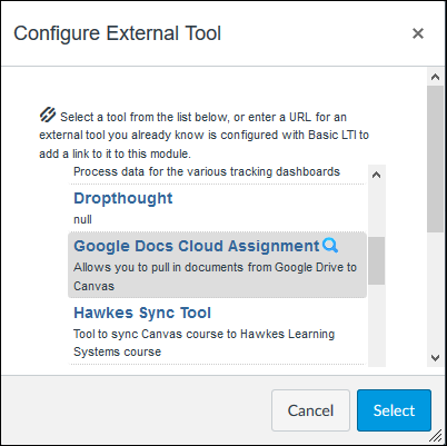 Screenshot of the Configure External Tool window.
