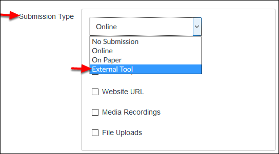 Screenshot of the Submission Type dropdown menu.