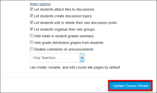Screenshot of the Let students attach files to discussions option.