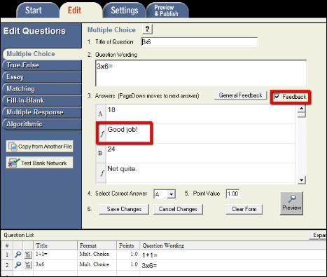 Screenshot of adding feedback.