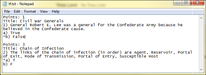 Screenshot of true and false format.