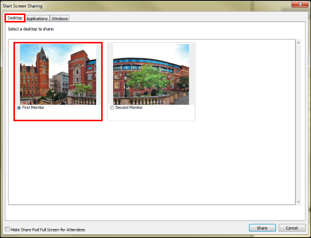 Screenshot of choosing a monitor.
