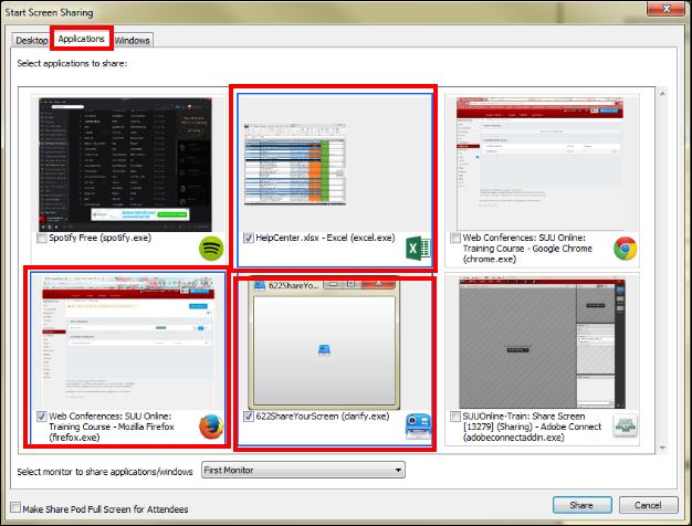 Screenshot of selecting applications.