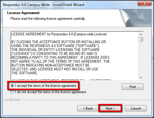 Screenshot of accepting the license agreement.