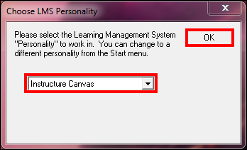 Screenshot of the Choose LMS Personality window.