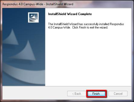 Screenshot of the Finish button.