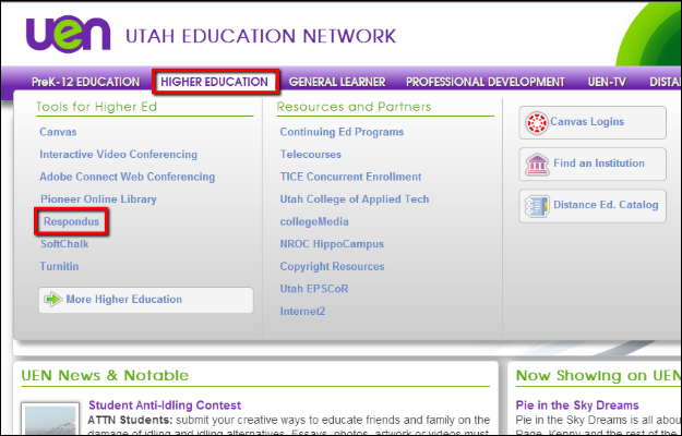 Screenshot of the Higher Education tab.
