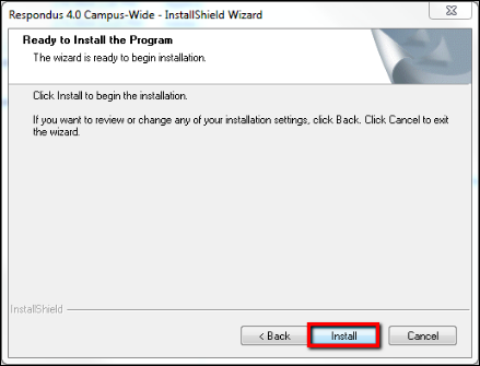 Screenshot of the Install button.