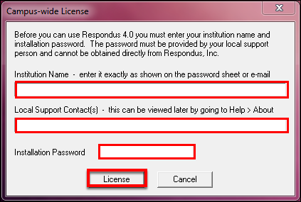 Screenshot of the license window.