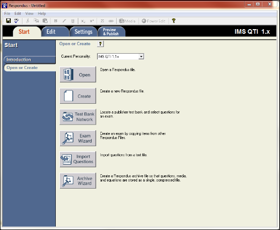 Screenshot of the Respondus window.
