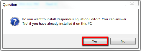 Screenshot of the Yes button.