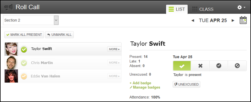 Screenshot of the Attendance tool.