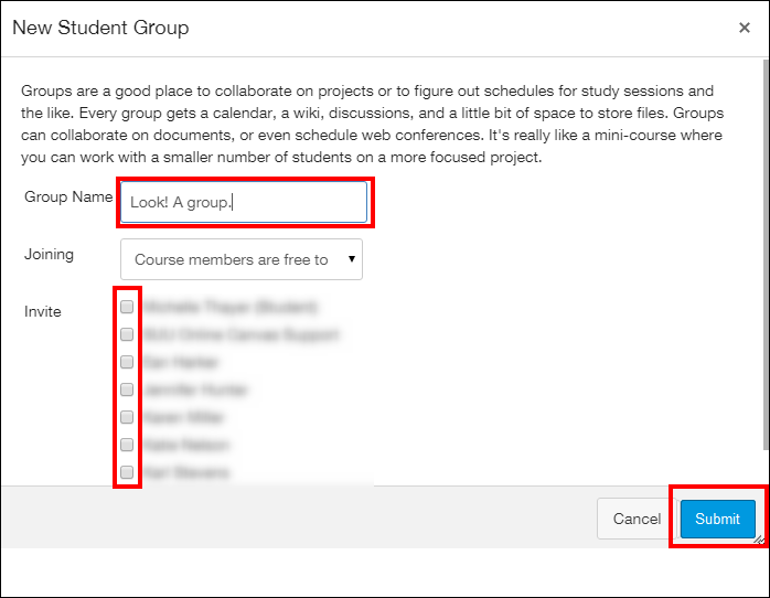 Screenshot of the New Student Group window.