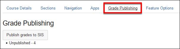 Screenshot of the Grade Publishing tab.