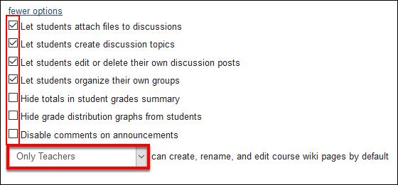 Screenshot of the More Options.