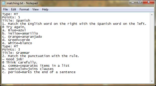 Screenshot of the matching format.
