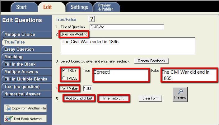 Screenshot of the True/False tab.