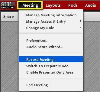 Screenshot of the Record Meeting option.