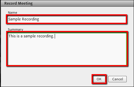 Screenshot of the Record Meeting window.