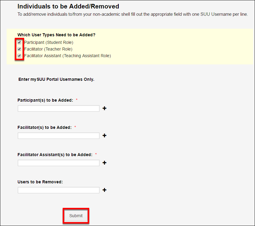 Screenshot of the individuals to be added/removed section.