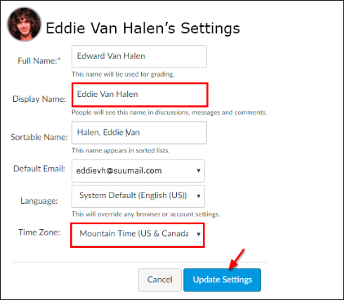 Screenshot of the name and time zone editing section.