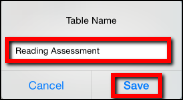 Screenshot of the Table Name window.