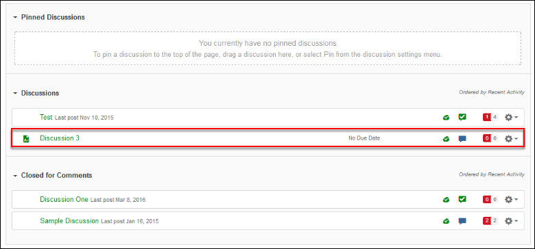 Screenshot of selecting a discussion.