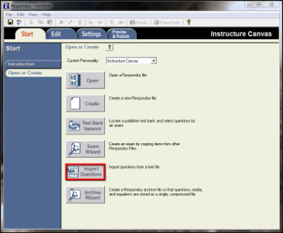 Screenshot of the Import Questions button.