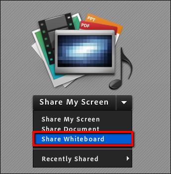 Screenshot of the Share Whiteboard button.