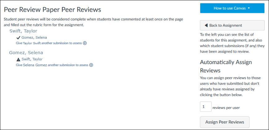 Screenshot of peer reviews.