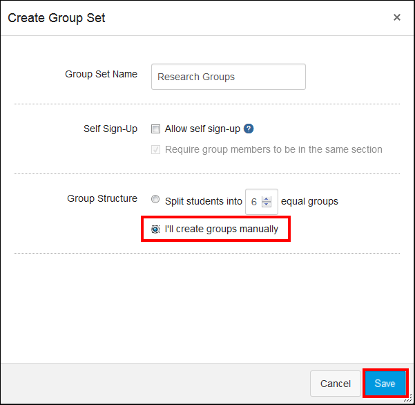 Screenshot of the Create Group Set window.