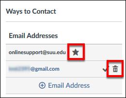 Screenshot of the Ways to Contact pane.
