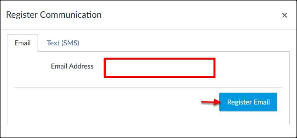 Screenshot of the Register Communication window.