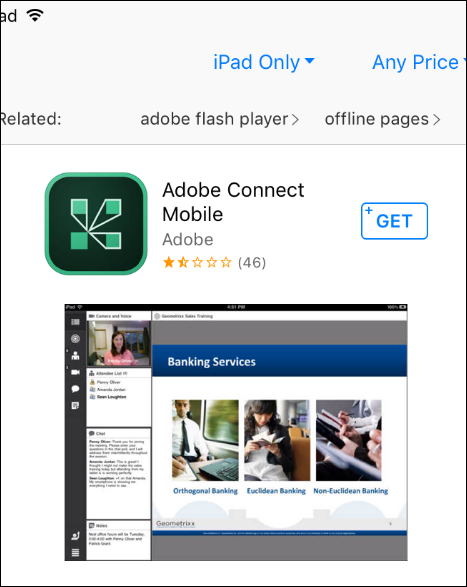 Screenshot of the app in the app store.