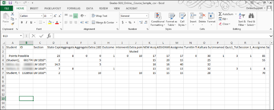 Screenshot of the spreadsheet.
