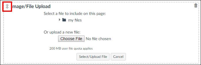 Screenshot of rearranging content.