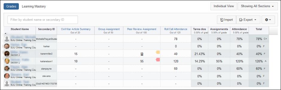 Screenshot of the grades tool.