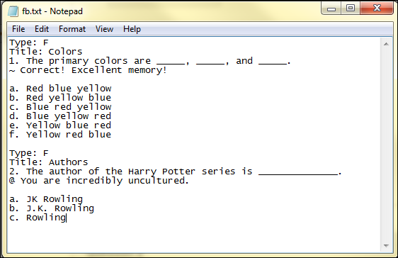 Screenshot of fill in the blank format.