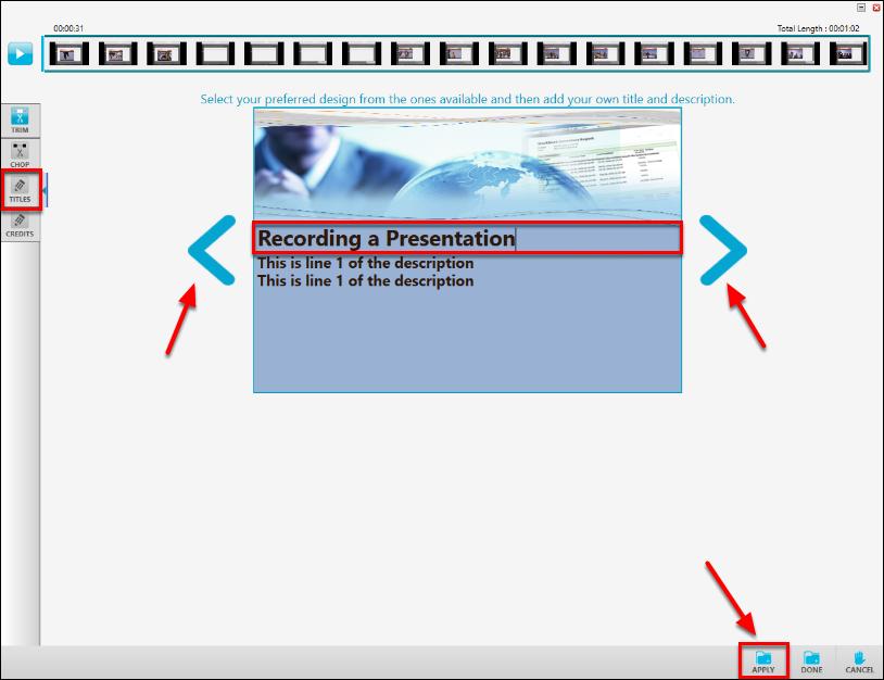 Screenshot of adding a title slide.
