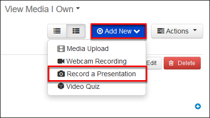 Screenshot of the Record a Presentation option.