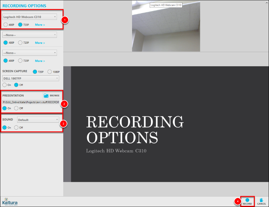 Screenshot of the recording options.